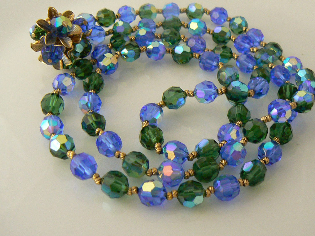 Vendome Crystal Blue Beaded Necklace Earring Set - Vintage Lane Jewelry