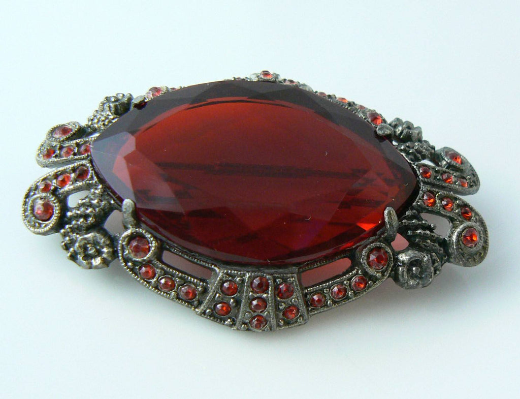 Antique Victorian Red Glass Pot Metal Brooch - Vintage Lane Jewelry - 2
