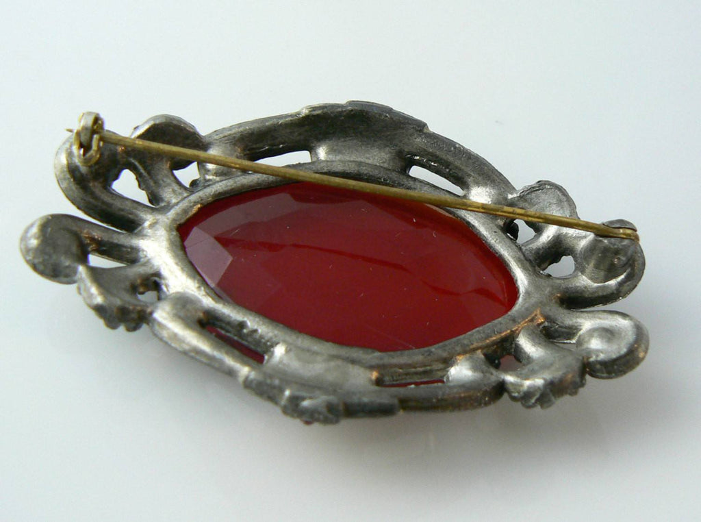 Antique Victorian Red Glass Pot Metal Brooch - Vintage Lane Jewelry - 3
