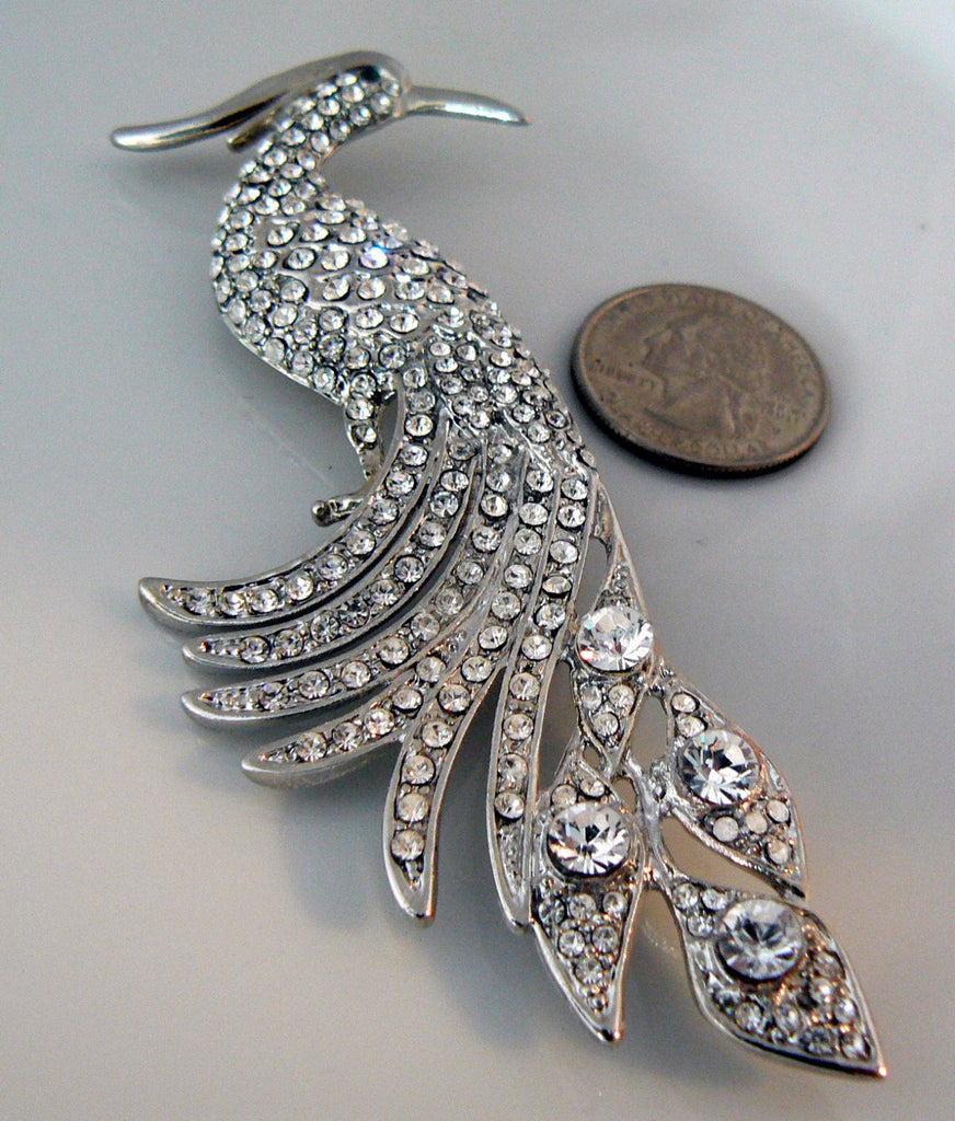Rhinestone Peacock Book Piece Replica - Vintage Lane Jewelry
