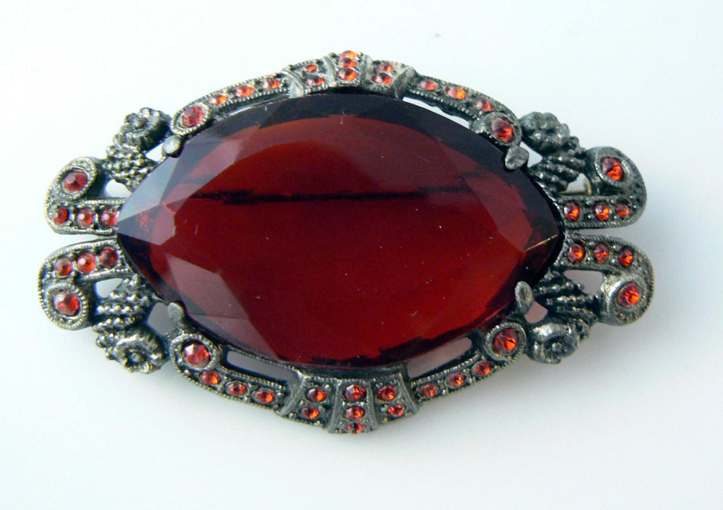 Antique Victorian Red Glass Pot Metal Brooch - Vintage Lane Jewelry - 1