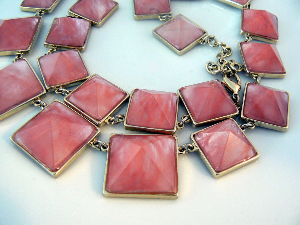 Stunning Strawberry Quartz Pyramid Necklace - Vintage Lane Jewelry