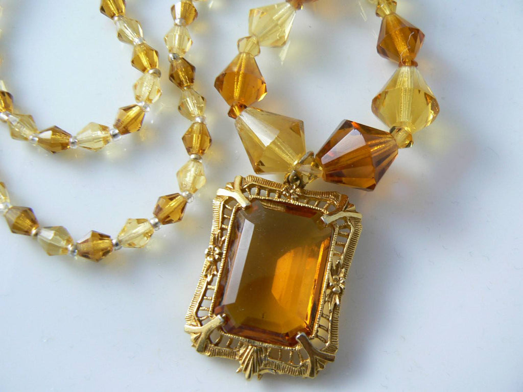 Czech Amber Glass Art Deco Necklace - Vintage Lane Jewelry