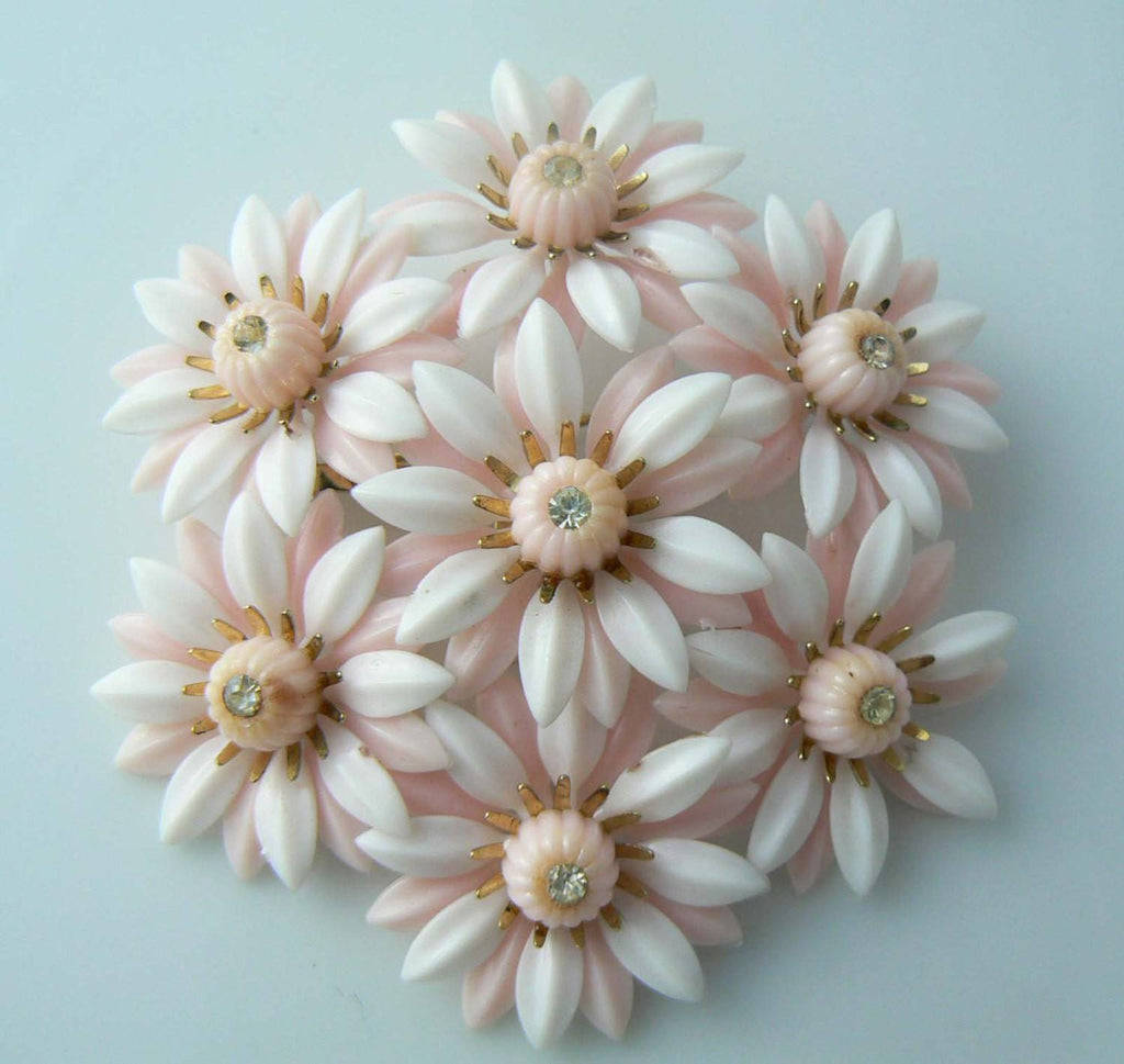 Huge Coro Plastic Pink Flower Brooch - Vintage Lane Jewelry
