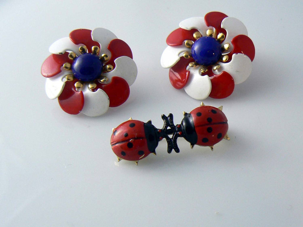 Red, White And Blue Enamel Flower Earrings And Enamel Ladybug Pin - Vintage Lane Jewelry - 1
