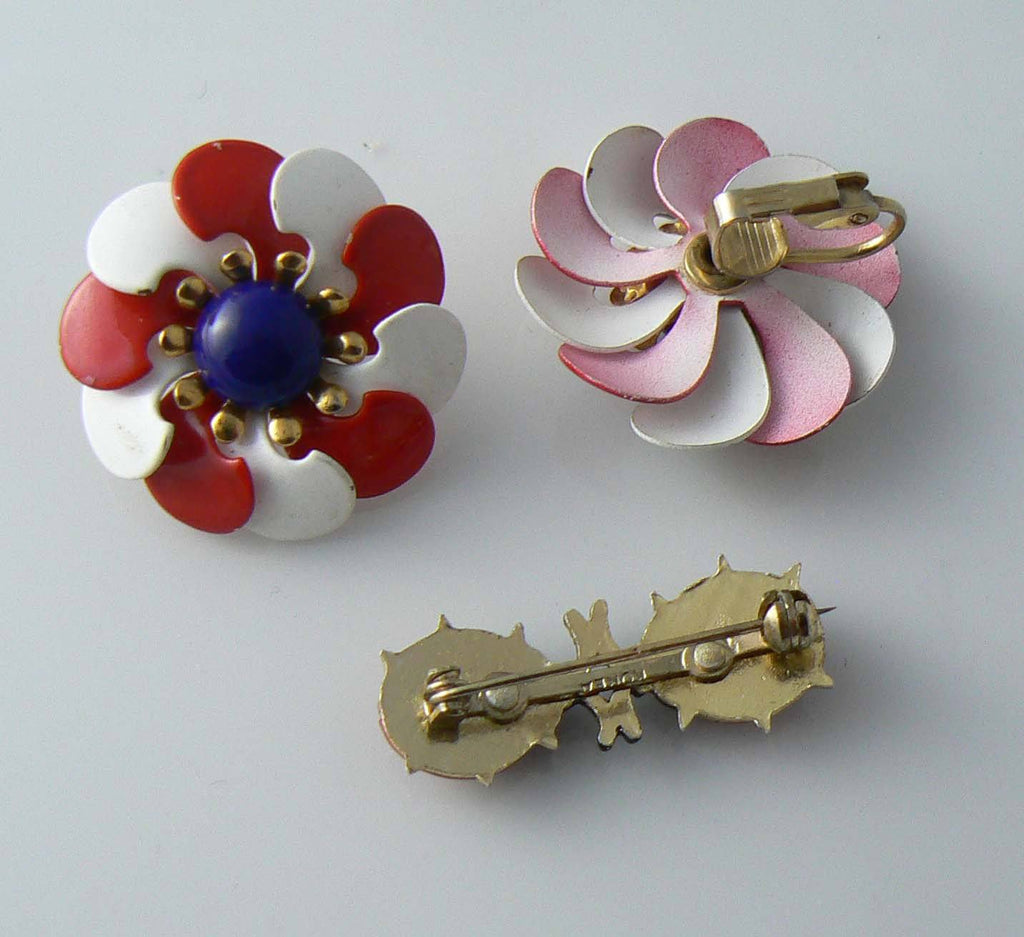 Red, White And Blue Enamel Flower Earrings And Enamel Ladybug Pin - Vintage Lane Jewelry