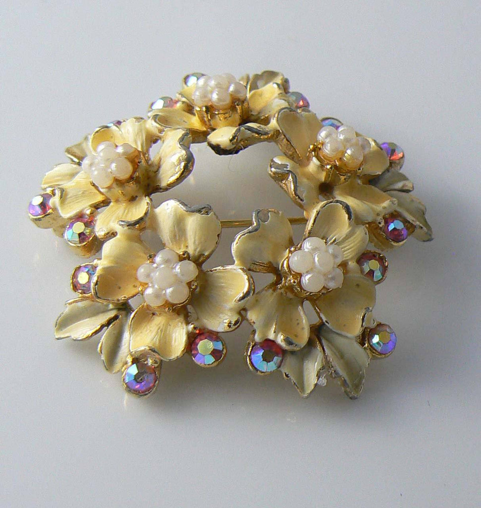 Beautiful Yellow Enamel, Faux Pearl And Ab Rhinestone Florenza Brooch - Vintage Lane Jewelry