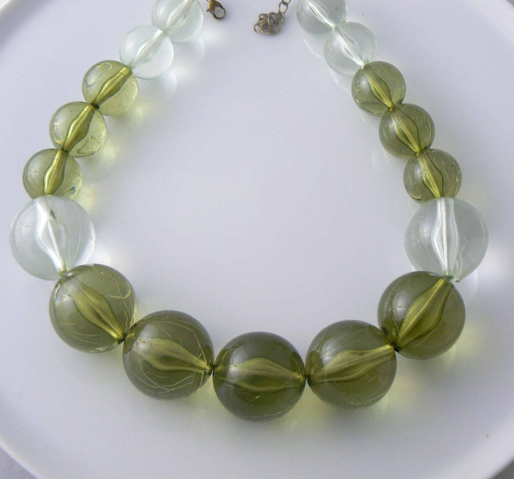 Vintage Shades Of Green Lucite Necklace - Vintage Lane Jewelry