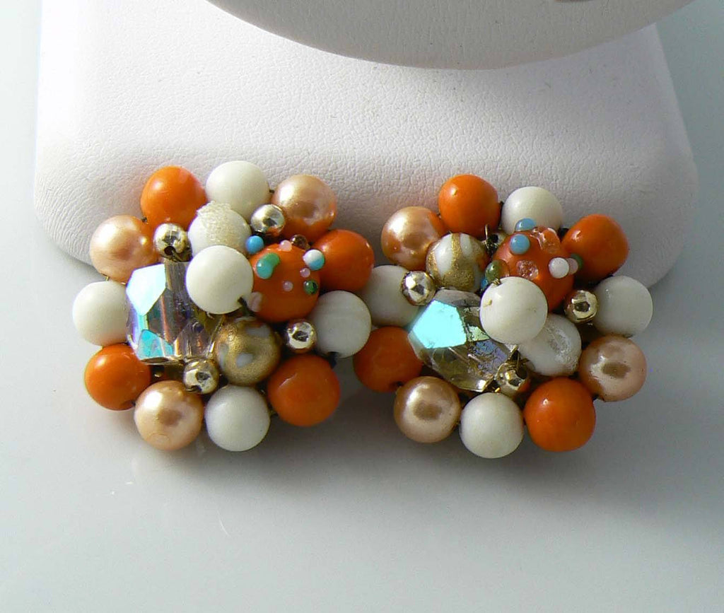 Signed Strand Beaded Japan Necklace And Clip Earrings Set - Vintage Lane Jewelry