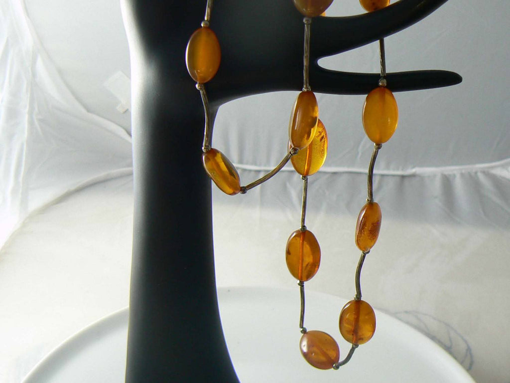 Vintage Greek Lucite Amber Necklace - Vintage Lane Jewelry