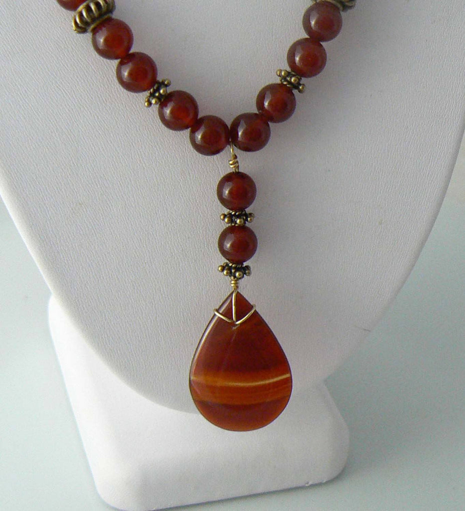 Carnelian Stone Sterling Necklace - Vintage Lane Jewelry
