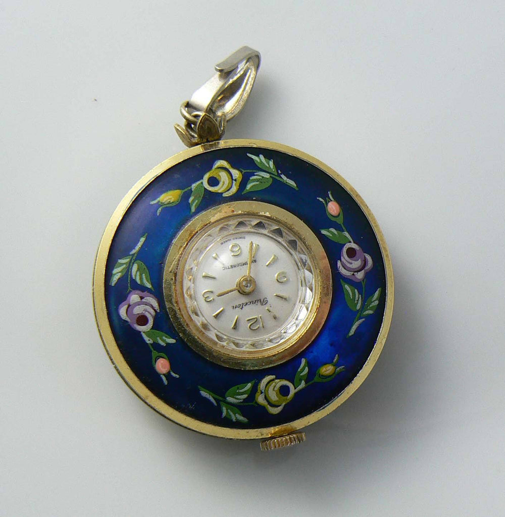 Vintage princeton hand painted double sided swiss pendant watch mozeypictures Choice Image
