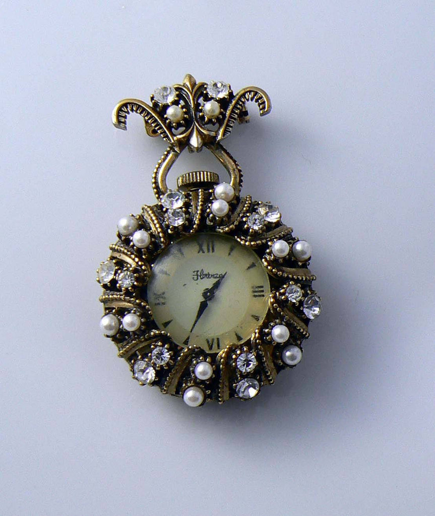 Florenza Clock Pendant Or Brooch - Vintage Lane Jewelry