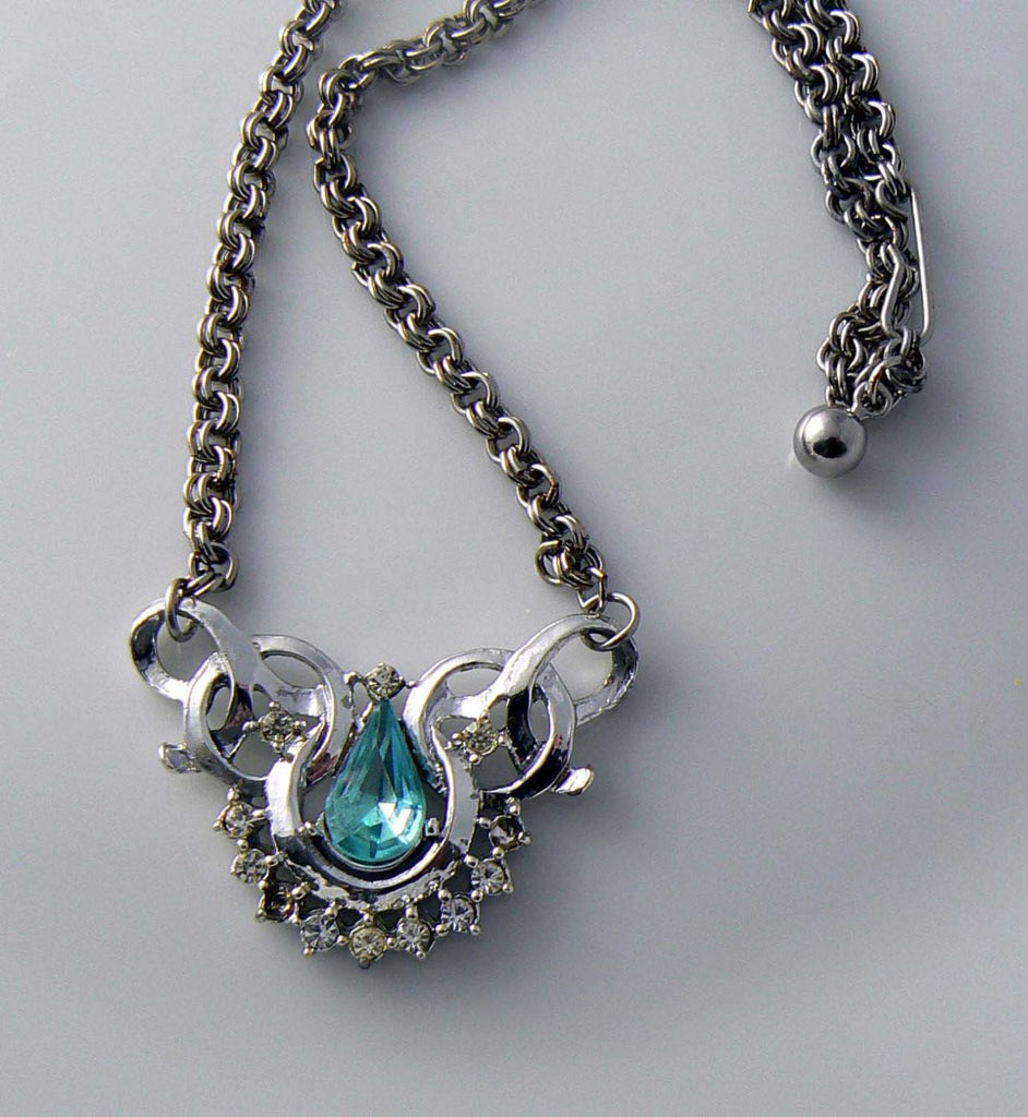 Bogoff Blue Rhinestone Necklace - Vintage Lane Jewelry