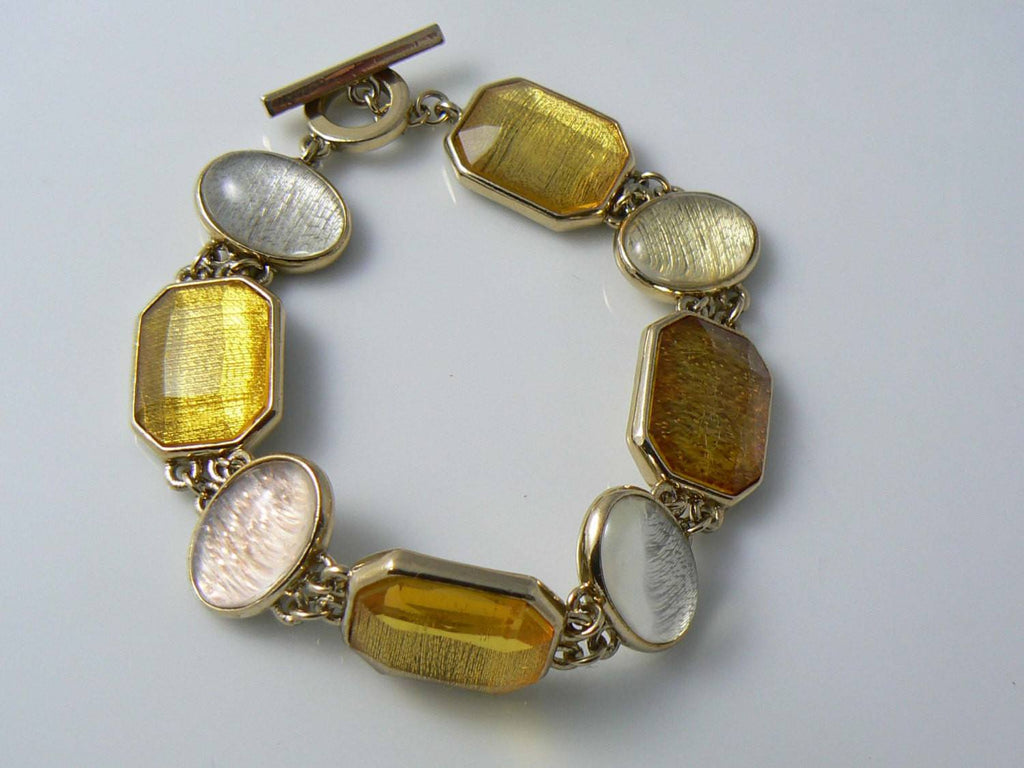 "Beautiful ""liz Claiborne"" Gold & Silver Tone Bracelet - Vintage Lane Jewelry"