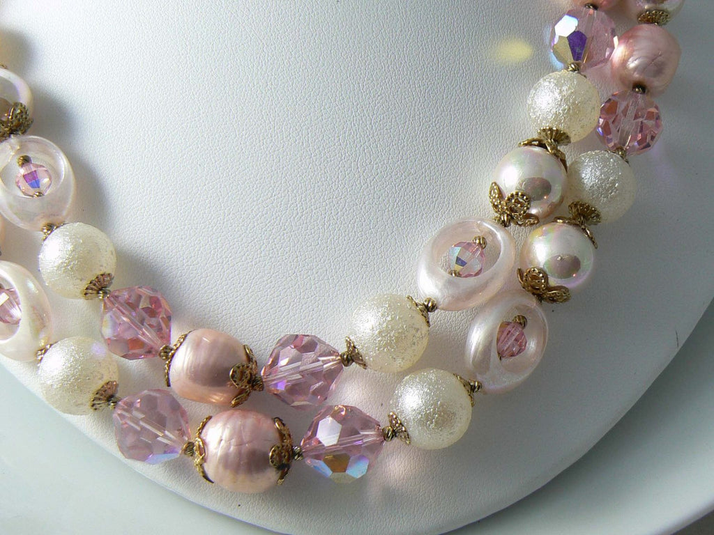 Vendome 2 Strand Pink White Beaded Crystal Necklace And Earrings - Vintage Lane Jewelry