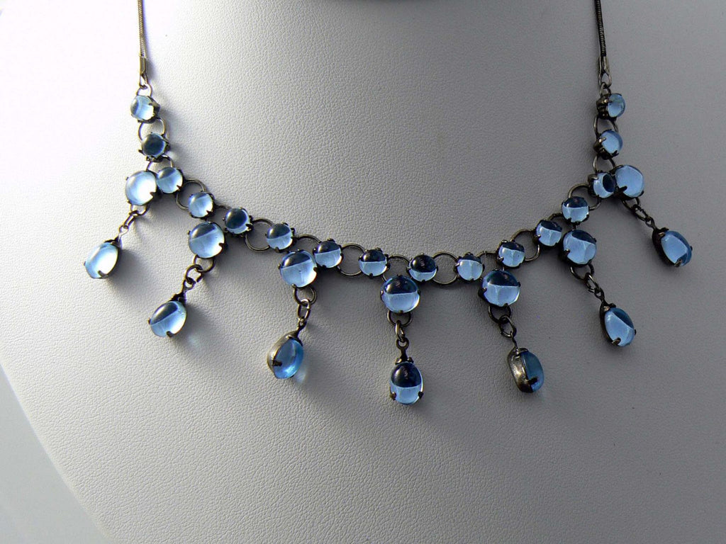 Vintage Dangling Blue Lucite Collar Necklace - Vintage Lane Jewelry