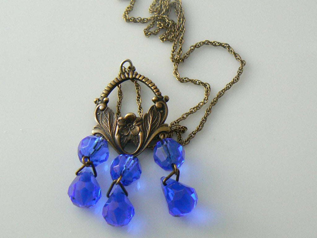 Vintage Victorian Bomae' Blue Crystal Pendant Necklace - Vintage Lane Jewelry