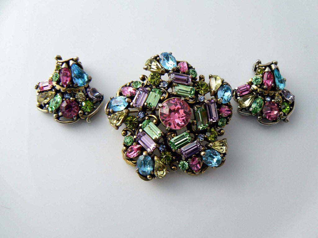 1953 Classic Hollycraft Pastel Rhinestone Brooch And Earrings - Vintage Lane Jewelry