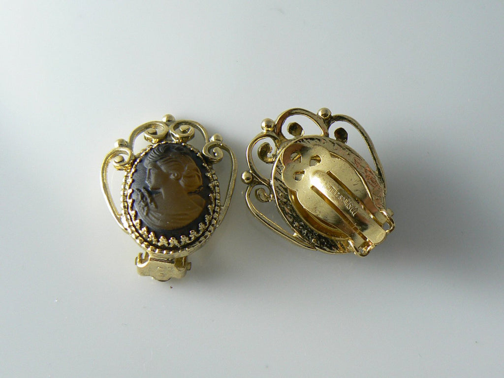 Whitting Davis Cameo Glass Earrings - Vintage Lane Jewelry