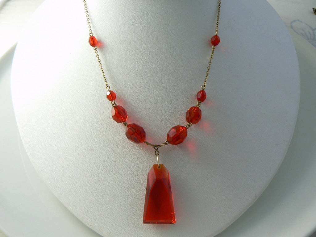 Vintage Red Art Deco Glass Necklace - Vintage Lane Jewelry
