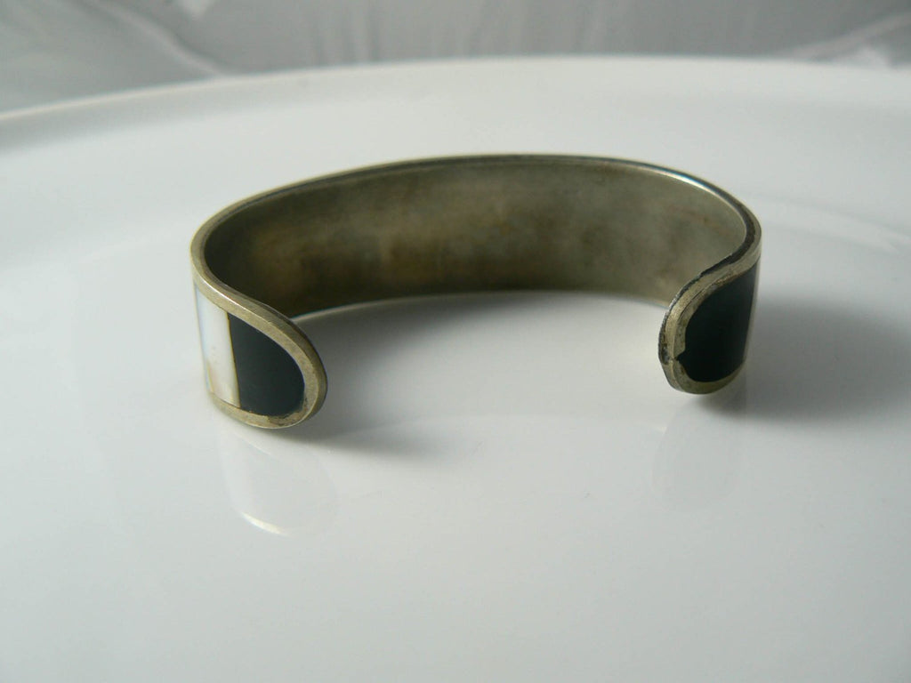 Vintage Silvertone And Mother Of Pearl Mosaic Cuff Bracelet - Vintage Lane Jewelry