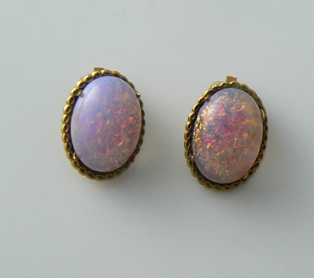 Vintage Gold Plated Dragons Breath Opaline Clip Earrings - Vintage Lane Jewelry