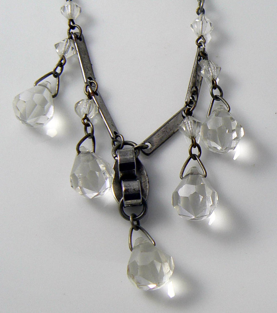 Vintage Art Deco Chome & Crystal Dropper Necklace - Vintage Lane Jewelry