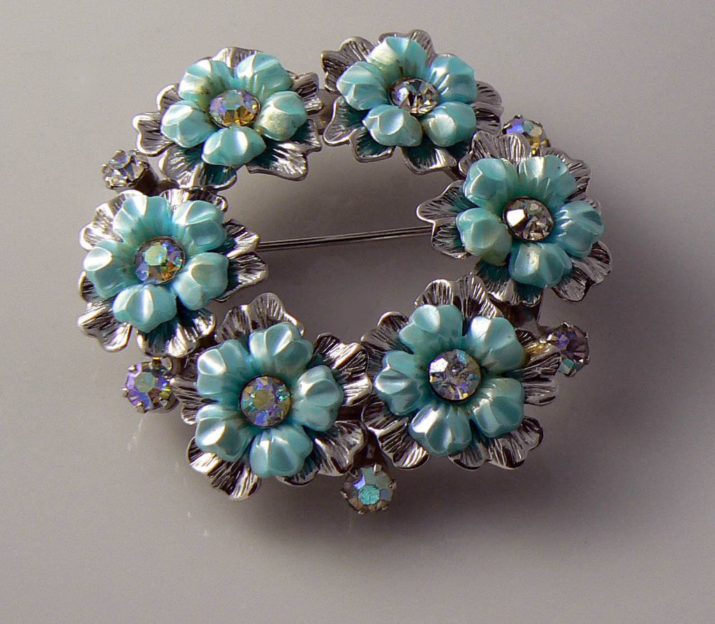 Coro 1950's Turquoise Colored Thermoset Rhinestone Brooch. - Vintage Lane Jewelry