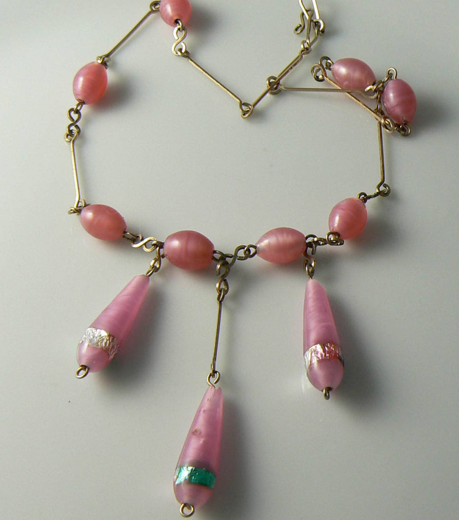 Vintage Art Deco Pink Glass Bead Necklace - Vintage Lane Jewelry