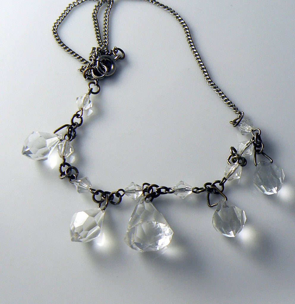Art Deco Clear Faceted Glass Necklace - Vintage Lane Jewelry - 1