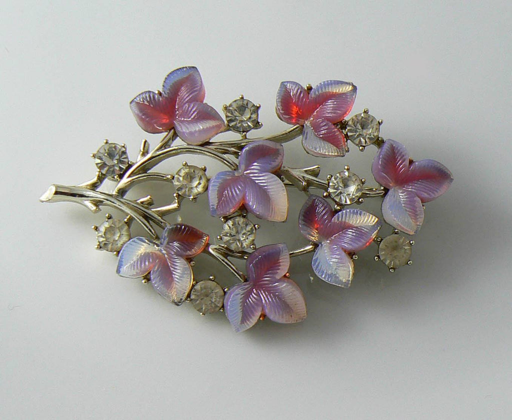 Coro Peagsus Silver Tone Molded Glass And Rhinestone Brooch - Vintage Lane Jewelry