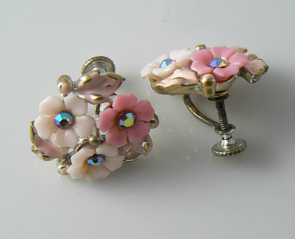 Coro Pink Plastic Flowers With Ab Rhinestones & Enamel Leaves Earrings - Vintage Lane Jewelry