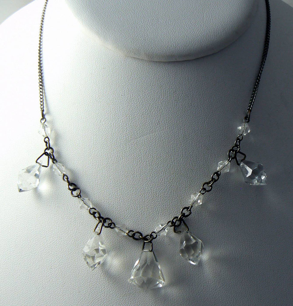 Art Deco Clear Faceted Glass Necklace - Vintage Lane Jewelry