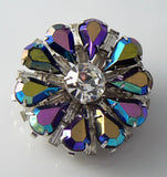 Coro Iridescent Rhinestone Purple Brooch - Vintage Lane Jewelry