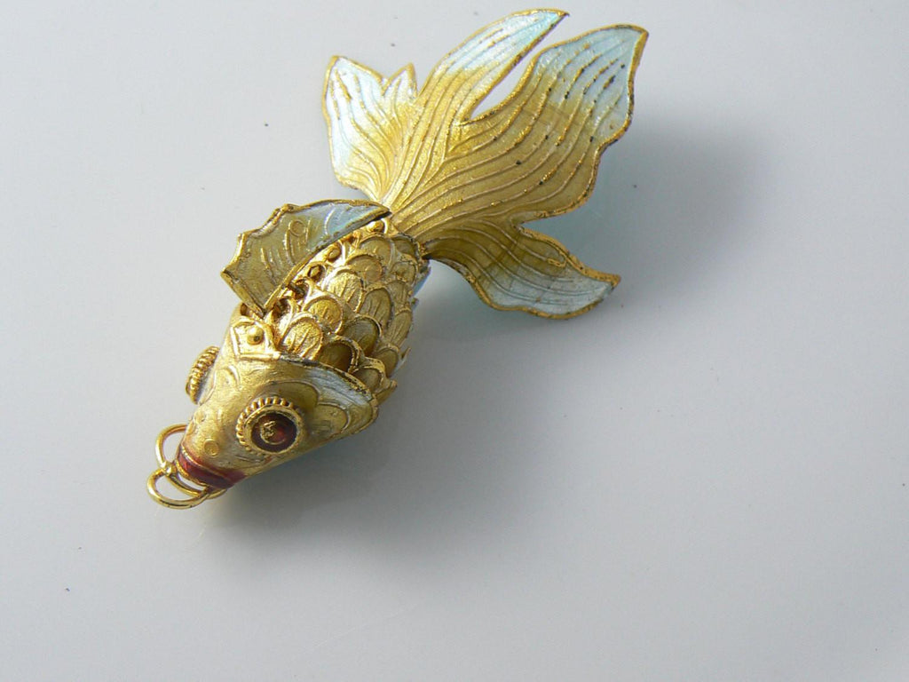 Articulating Enamel Koi Fish Pendant - Vintage Lane Jewelry