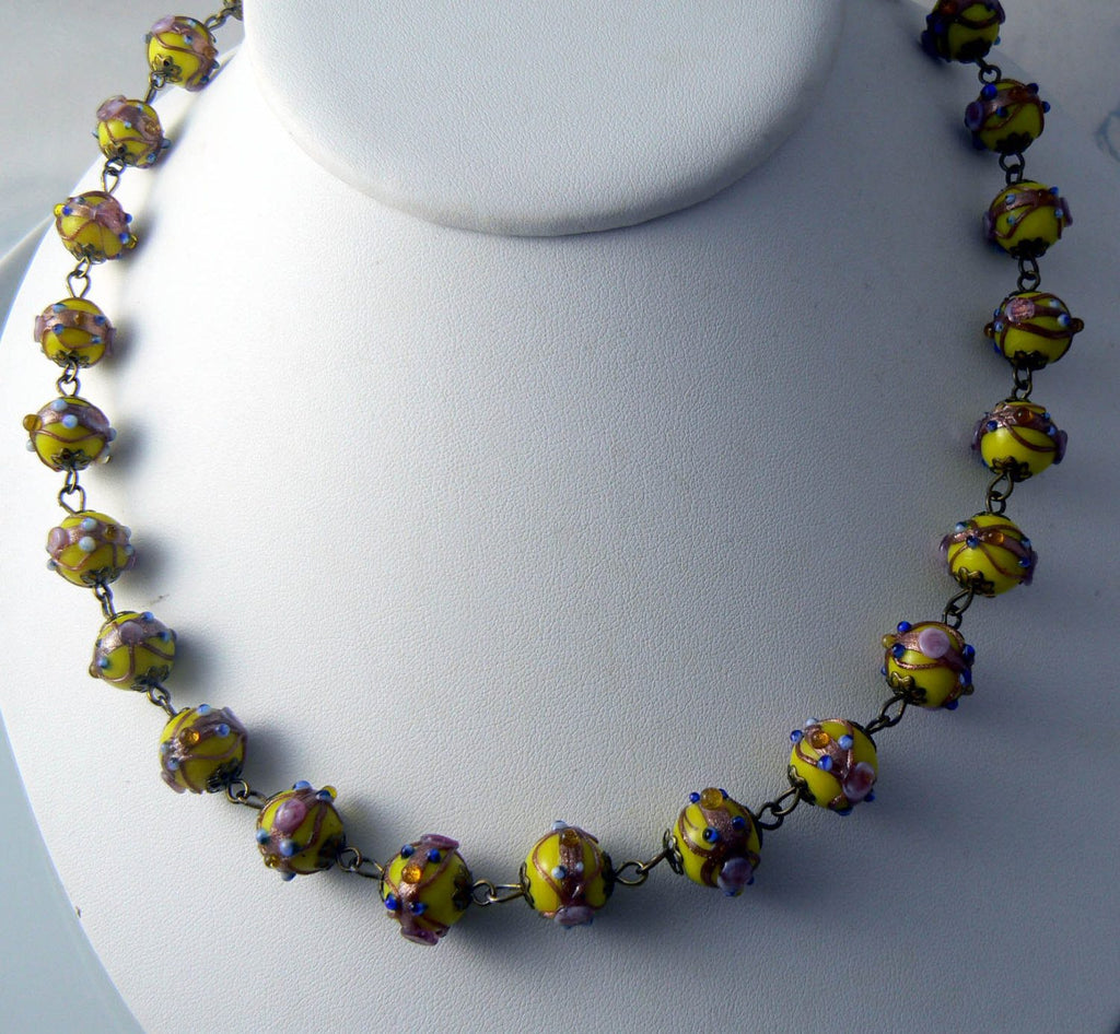 Vintage Yellow Wedding Cake Lampwork Glass Bead Necklace - Vintage Lane Jewelry