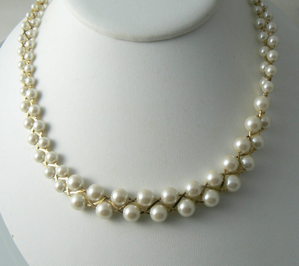 Trifari Faux Pearl Necklace - Vintage Lane Jewelry