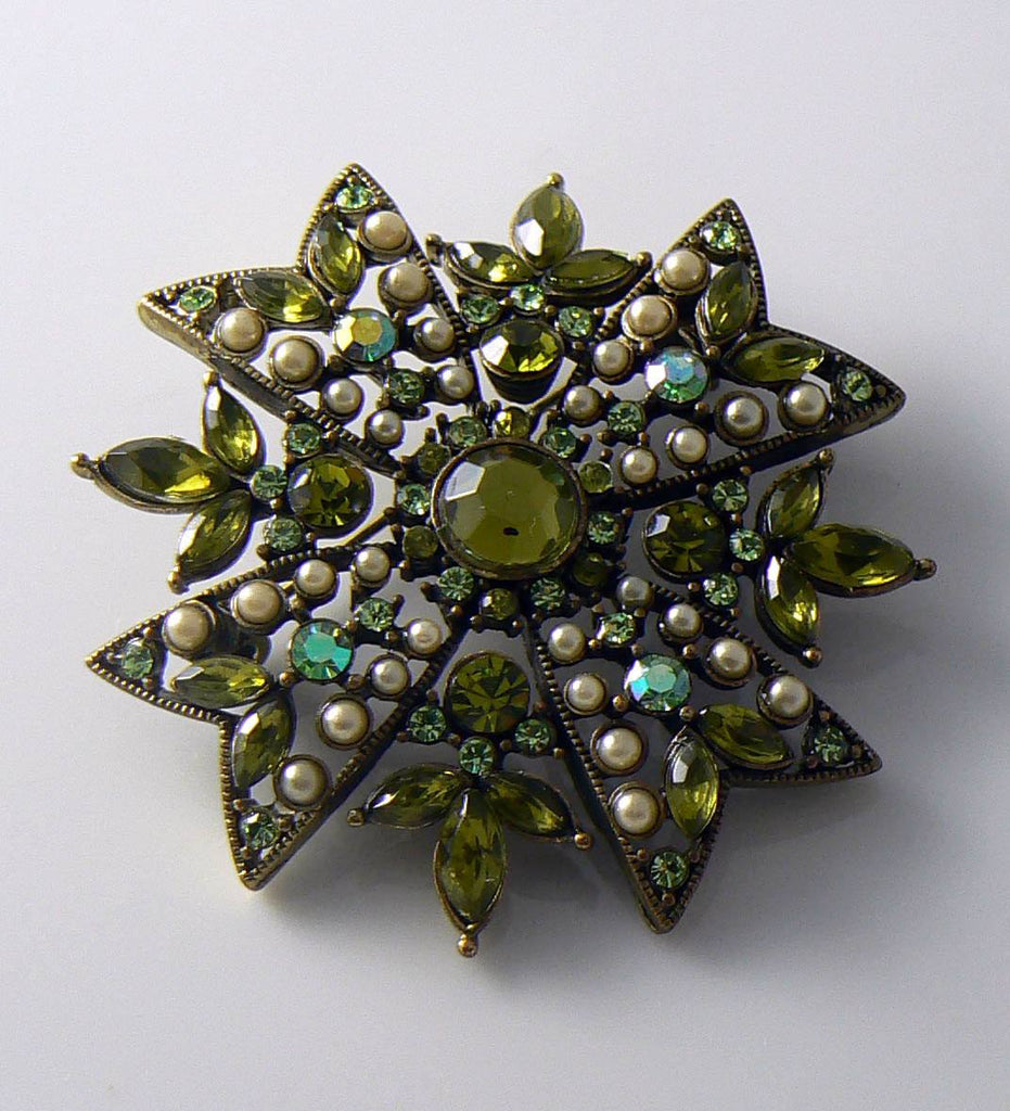 Vintage Green Rinestone And Faux Pearl Maltese Cross Brooch - Vintage Lane Jewelry
