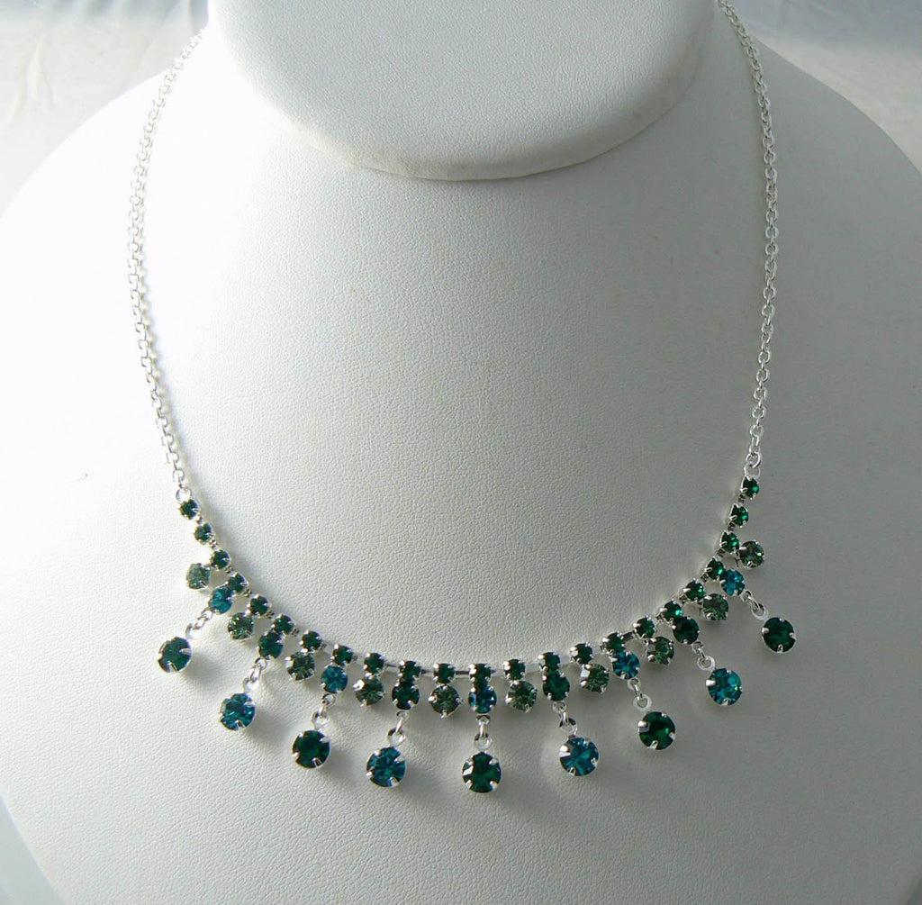 Vintage Blue And Green Crystal Necklace - Vintage Lane Jewelry