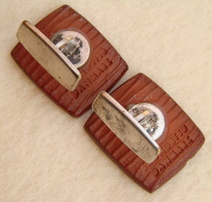 Danmark Brondsted Vintage Red Lava Metal Cufflinks - Vintage Lane Jewelry