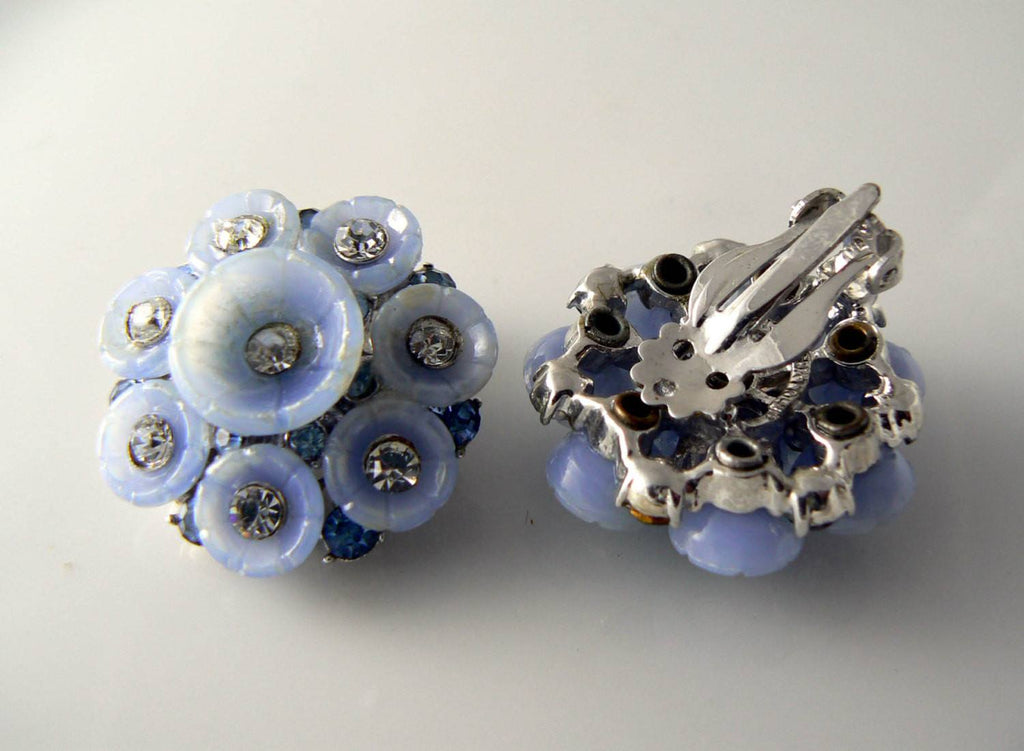 Vintage Hollycraft Blue Lucite Blue Clear Crystal Clip Earrings - Vintage Lane Jewelry