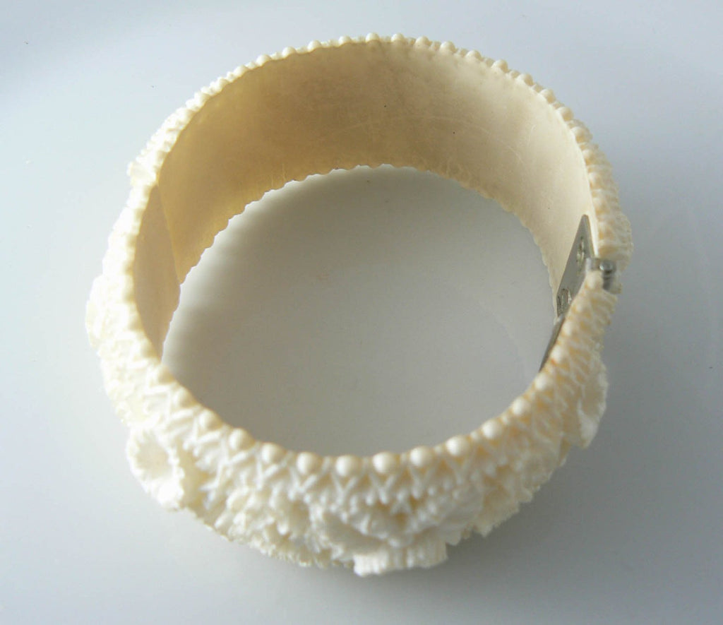 Carved Celluloid Hinged Bracelet - Vintage Lane Jewelry