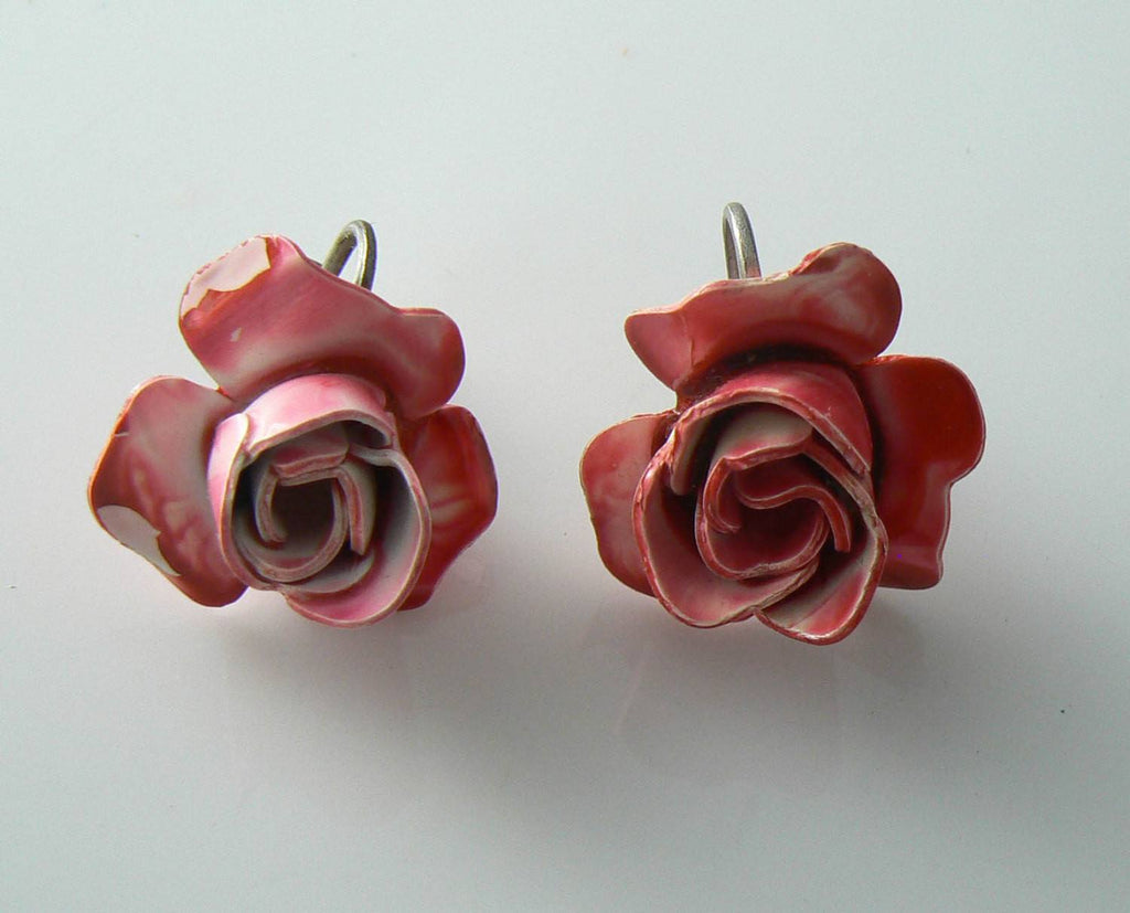 Pretty Pink And White Enamel Rose Earrings - Vintage Lane Jewelry - 1