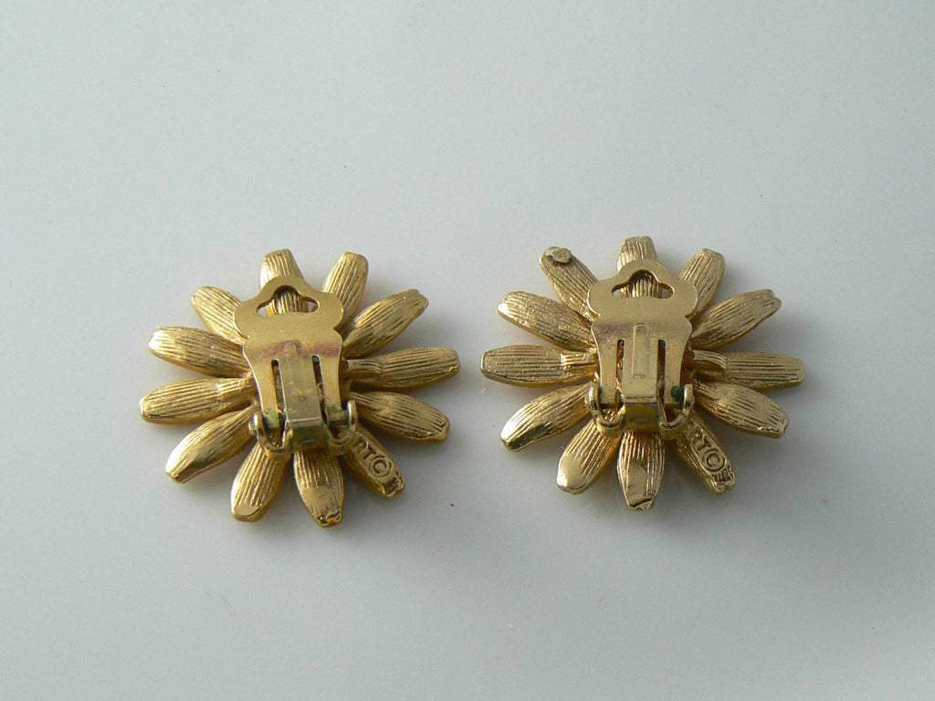 Enamel Sunflower Clip On Earrings Signed Art - Vintage Lane Jewelry