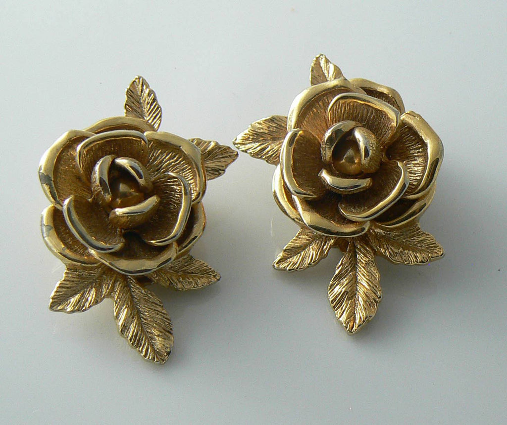 Vintage Sarah Coventry Gold Tone Rose Earrings - Vintage Lane Jewelry