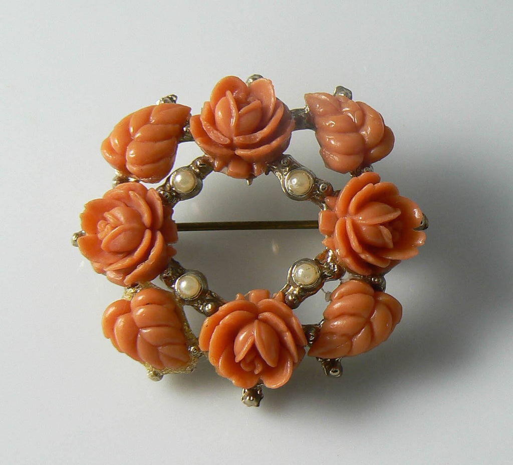 Vintage Orange Faux Coral Celluloid Flower Brooch - Vintage Lane Jewelry
