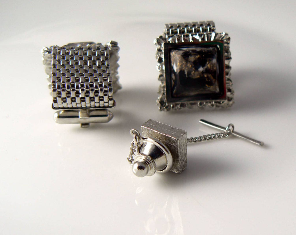 Vintage Cufflinks And Tie Tack Set - Vintage Lane Jewelry