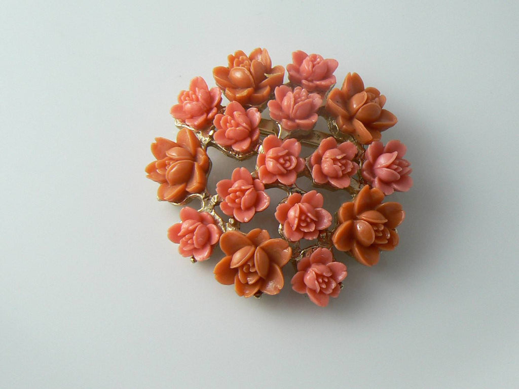 Gorgeous 1950's Coral Celluloid Roses Pin - Vintage Lane Jewelry