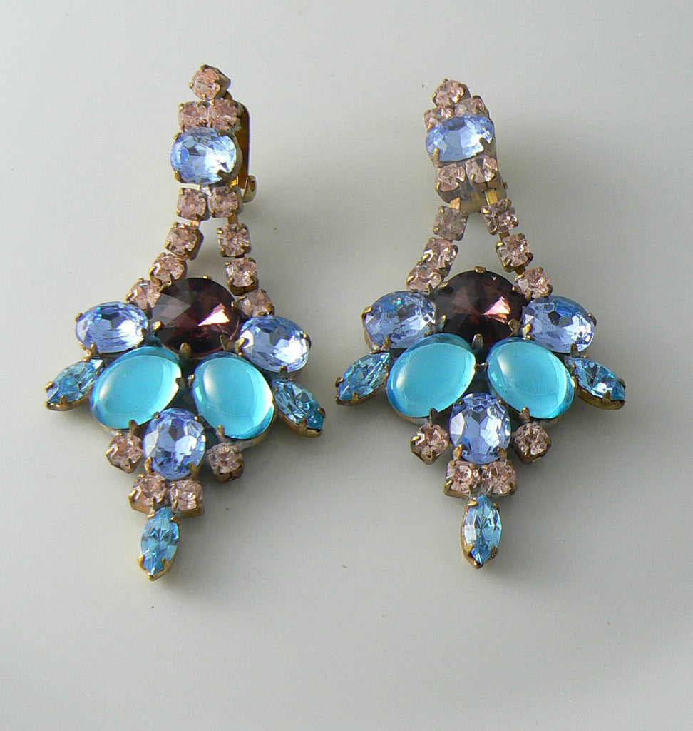 Fancy Czech Rhinestone Blue Clip On Earrings - Vintage Lane Jewelry